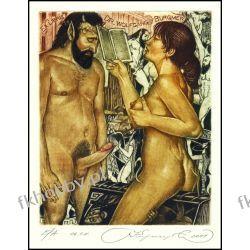 Kirnitskiy Sergey 2001 Exlibris C4 Erotic Erotik Nude Nudo Woman Devil Sex 32 Antyki i Sztuka