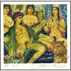 Kirnitskiy Sergey 2001 Exlibris C4 Music Erotic Erotik Nude Woman Panther Cat 35 Antyki i Sztuka