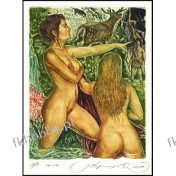 Kirnitskiy Sergey 2001 Exlibris C4 Mythology Diana and Actaeon Erotic Hunter 41 Antyki i Sztuka