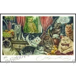 Kirnitskiy Sergey 2001 Exlibris C4 Cat Katze Kot Gato Owl Eule Hibou Bird 38 Antyki i Sztuka