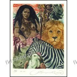 Kirnitskiy Sergey 2002 Exlibris C4 Africa Erotic Lion Cat Rhinoceros Zebra 54 Antyki i Sztuka