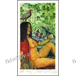 Kirnitskiy Sergey 2002 Exlibris C4 Geisha Japan Erotic Nude Bird Dog Hund 44 Antyki i Sztuka