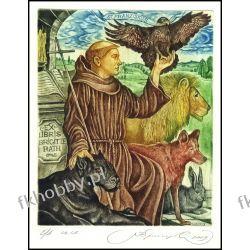 Kirnitskiy Sergey 2003 Exlibris C4 Saint Francis Lion Cat Wolf Hare Eagle 71 Antyki i Sztuka