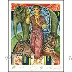 Kirnitskiy Sergey 2003 Exlibris C4 India Tiger Cat Elephant Erotic Woman 72 Antyki i Sztuka