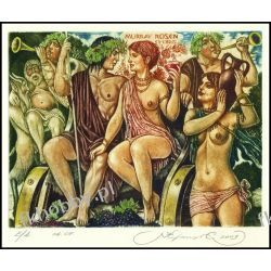 Kirnitskiy Sergey 2003 Exlibris C4 Mythology Bacchus and Ariadne Erotic Devil 68 Antyki i Sztuka