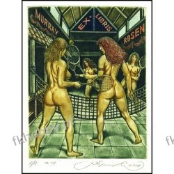Kirnitskiy Sergey 2004 Exlibris C4 Tenis Tennis Sport Erotic Nude Nudo Woman 85