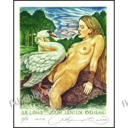 Kirnitskiy Sergey 2004 Exlibris C4 Mythology Leda and Swan Erotic Nude Bird 98 Antyki i Sztuka