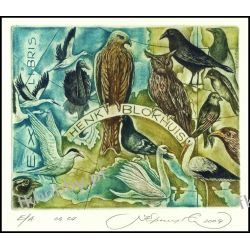 Kirnitskiy Sergey 2004 Exlibris C4 Bird Owl Eule Swan Stork Pigeon Eagle 88