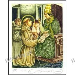 Kirnitskiy Sergey 2004 Exlibris C4 Saint Francis Pope Honoriusz III Papa 80 Antyki i Sztuka