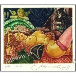 Kirnitskiy Sergey 2004 Exlibris C4 Venice Erotic Erotyk Nude Woman Angel 87 Antyki i Sztuka