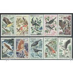 Monako 1962 Mi 700-09 ** Ptaki Bocian Sowa Pozostałe