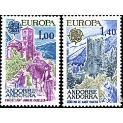 Andora Fr 1977 Mi 282-83 ** Europa Cept Kościół Pozostałe