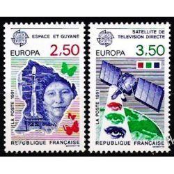 Francja 1991 Mi 2834-35 ** Europa Cept Kosmos Motyl Ptaki