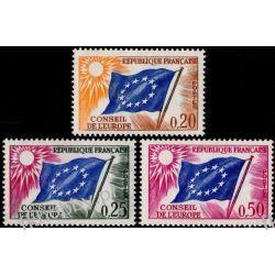 Francja 1963 Mi di 7-9 ** Europa Cept Europarat Flagi Pozostałe