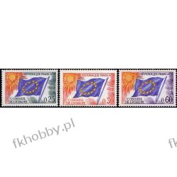 Francja 1965 Mi di 10-12 ** Europa Cept Europarat Flagi Kolekcje