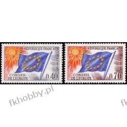 Francja 1969 Mi di 13-14 ** Europa Cept Europarat Flagi Polonica