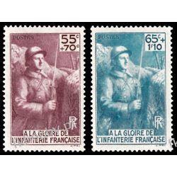 Francja 1938 Mi 423-24 ** Wojsko Wojna Ssaki