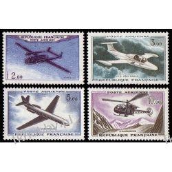 Francja 1960 Mi 1279-82 ** Lotnictwo Samoloty Sport
