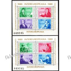 Rumunia 1980 Mi BL 169-170 ** Cept INTEREUROPA Beethoven Muzyka Lotnictwo