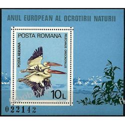 Rumunia 1980 Mi BL 167 ** Cept Ptaki Pelikan Flora