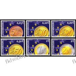 Luksemburg 2001 Mi 1544-49 ** Europa Cept Monety Euro Druk wklęsły