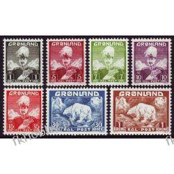 Grenlandia 1938 Mi 1-7 ** Król Chrystian X Niedżwiedż Ssaki