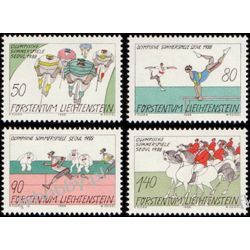 Liechtenstein 1988 Mi 947-50 ** Olimpiada Seoul Koń Rower Druk wklęsły
