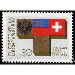 Liechtenstein 1969 Mi 517 ** Telegraf Herby Malarstwo