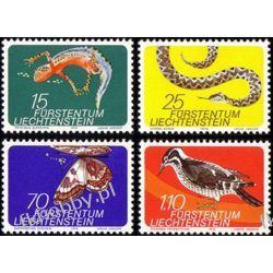 Liechtenstein 1974 Mi 609-12 ** Zwierzęta Motyl Ptak Wąż Owady