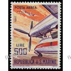 San Marino 1965 Mi 829 ** Lotnictwo Samolot Druk wklęsły