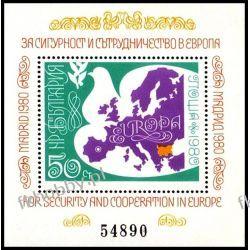Bułgaria 1980 Mi BL 106 ** Europa Cept Gołąb Mapa Filatelistyka
