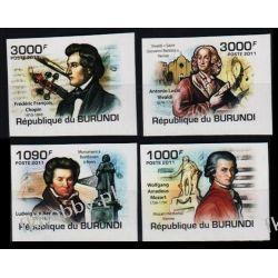 Burundi 2011 Mi 2154-57 B ** Chopin Mozart Muzyka