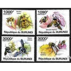 Burundi 2011 Mi 1998-01 ** Owady Pszczoły Kwiaty Ptaki