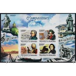 Burundi 2011 Mi BL 174B ** Chopin Mozart Muzyka Kolekcje