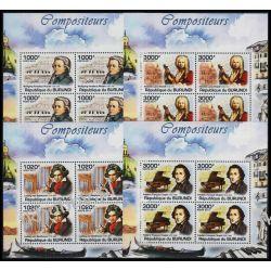 Burundi 2011 Mi ark 2154-57 ** Chopin Mozart Muzyka 4 Kolekcje