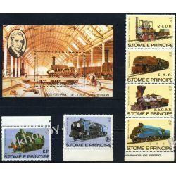 Wyspy Św Tomasza 1982 Mi 808-13 BL 113 ** Lokomotywa Kolej Kolejnictwo
