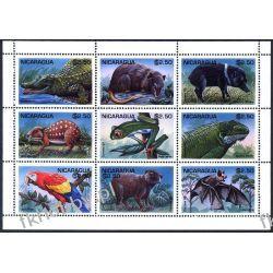 Nikaragua 1995 ark 3584-92 ** Zwierzęta Ptaki Krokodyl Pozostałe