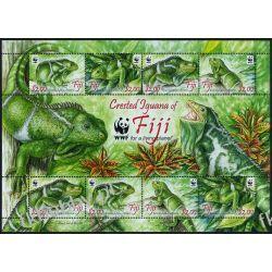 Fidżi 2010 Mi ark 1294-97 ** WWF Iguana Jaszczurka Dokumenty
