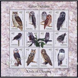 Ukraina 2003 Mi ark 574-85 ** Sowy Ptaki Kolekcje