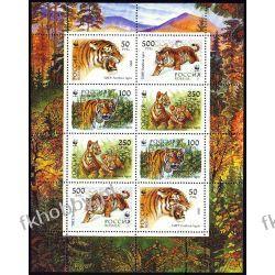 Rosja 1993 Mi ark 343-46 ** WWF Tygrys Dziki Kot Kolekcje