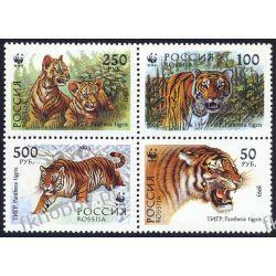 Rosja 1993 Mi 343-46 ** WWF Tygrys Dziki Kot A Ssaki