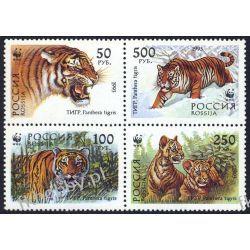 Rosja 1993 Mi 343-46 ** WWF Tygrys Dziki Kot B Ssaki
