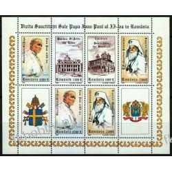 Rumunia 1999 Mi ark 5410-13 ** Jan Paweł II Papież Ssaki
