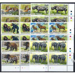Wyspy Cooka 1992 Mi 1341-46 x4 ** Tygrys Słoń Małpa Niedżwiedż Ssaki