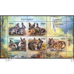 Komory 2011 Mi ark 3048-52 ** Zwierzęta Króliki Ssaki