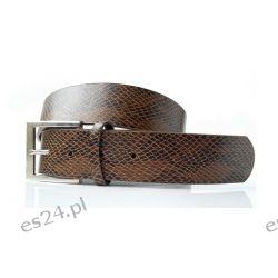 Pasek ANIMAL WĄŻ 106 cm - brązowy Odzież, Obuwie, Dodatki