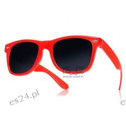 Okulary WAYFARER nerdy kujonki - czerwone Odzież, Obuwie, Dodatki