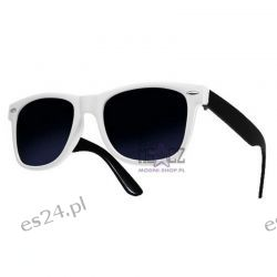 Okulary WAYFARER nerdy kujonki - biało-czarne