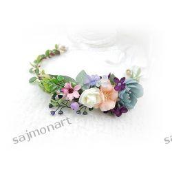 Wianek na głowę opaska ślub SESJA stroik róże