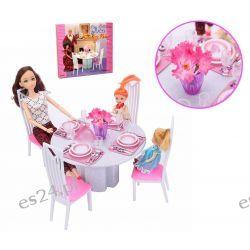 JADALNIA okrągły stół krzesła mebelki Barbie EduCORE Dla Dzieci